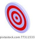 Red white target icon, isometric style 77311533