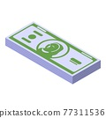 Cash pack icon, isometric style 77311536