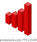Red graph chart icon, isometric style 77311539