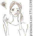 過敏眼睛煩惱由於花粉熱而不能戴隱形眼鏡的女性 77313199