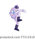 Cartoon astronaut. Dancing party cosmonaut, modern disco spaceman, comic space dancer. Vector comics astronaut illustration in different poses. 77313416