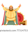 King cartoon character with a wide smile, looking at the viewer with a happy expression, showing thumbs up with both hands, achieving goals. Body language. Vector illustration isolated background 77314753