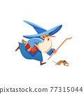 Magician runs. Wizard. Mysterious male magician in robe spelling oldster merlin vector cartoon characters. Sorcerer character in costume, witchcraft and magical cartoon, flat illustration. 77315044
