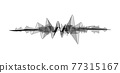 Black and white equalizer. Voice assistant concept. Modern sound wave element isolated on white background. Microphone voice control technology, voice and sound recognition. Vector illustration 77315167