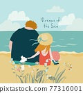 Cute Family sitting on Seaside and seeing on the Sea 77316001
