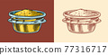 Mustard or Spicy condiment. Dip or dipping sauce. Illustration for Vintage background or poster 77316717