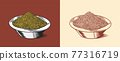 Mustard seeds or Spicy condiment. Dip or dipping sauce. Illustration for Vintage background or 77316719