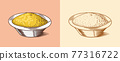 Mustard or Spicy condiment. Dip or dipping sauce. Illustration for Vintage background or poster 77316722