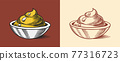 Mustard or Spicy condiment. Dip or dipping sauce. Illustration for Vintage background or poster 77316723