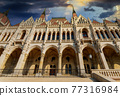 Capital of Hungary with Budapest parliament building landscape panorama in sunset view 77316984
