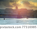 Panoramic view with Chain bridge of Budapest building capital of Hungary 77316985