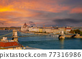 Panoramic sunset view with Chain bridge of Budapest parliament building capital of Hungary 77316986