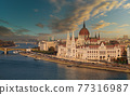 Budapest parliament building in sunset view with river Danube an capital of Hungary 77316987