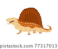 Dimetrodon dinosaur flat icon. Colored isolated prehistoric reptile monster on white background. Vector cartoon dino animal 77317013