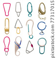 Collection of carabiner clasps. Metal carabines for climbing rope link. Snap hooks for bag, safety or protecting accessoryes. Claw clasps, climbing equipments 77317015