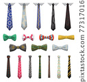 Collection of ties and bow ties. Men fashioned accessories. Clothes design element over isolated on white background. Fabric items for male wardrobe in elegant style 77317016