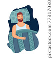 Good sleep rules and man sleeps on pillow vector illustration. Template healthy sleep. Good night relaxation. Helpful ilustrative advice how to get rid of insomnia 77317030