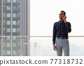 Portrait of handsome African businessman outdoors at rooftop 77318732