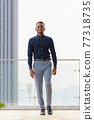 Full length shot of handsome African businessman outdoors at rooftop walking 77318735