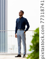 Full length shot of handsome African businessman outdoors at rooftop thinking 77318741