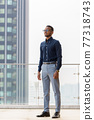 Full length shot of handsome African businessman outdoors at rooftop thinking 77318743