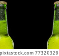 Two beer bottles in a row on black background. Space for text and logo. Drops on the bottle. Cold and refreshing beer 77320329