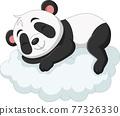 Cartoon baby panda sleeping on the clouds 77326330