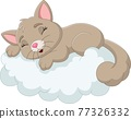 Cartoon baby cat sleeping on the clouds 77326332