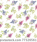 Beautiful vector floral spring seamless pattern with watercolor gentle lilac flowers. Stock illustration. 77326561