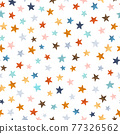 Beautiful vector seamless pattern with watercolor colorful stars. Stock illustration. 77326562