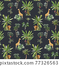 Beautiful vector seamless pattern with watercolor tropical palms and jungle animals tiger, giraffe, leopard. Stock illustration. 77326563