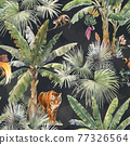 Beautiful vector seamless pattern with watercolor tropical palms and jungle animal tiger. Stock illustration. 77326564
