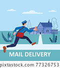 Postman running with bag delivering letter in envelope for house to address. Mailman in uniform carrying mail, delivery service. Vector illustration 77326753