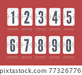 Vector numeric flip scoreboard with reflections floating for white countdown timer or web page watch or calendar 77326776