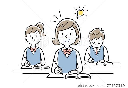 矢量圖素材:能理解課程內容的女學生 77327519