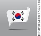 South Korean flag map pointer layout. Vector illustration. 77330488