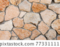 Decorative wall made of natural stone of various shapes and sizes. Interior background 77331111