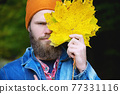 Seasonal autumn fashion. Portrait of a man covering his face with an autumn leaf. Autumn nature. 77331116