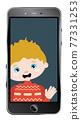 Caucasian boy chatting online 77331253