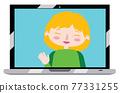 Blond girl on laptop screen 77331255