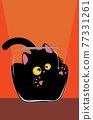 Black cat in the glass bowl 77331261