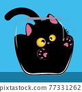 Black cat in the glass bowl 77331262
