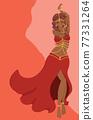 Belly dancer girl in red dress design 77331264