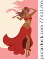 Belly dancer girl in red dress design 77331265