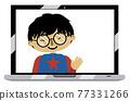 Asian boy on laptop screen 77331266