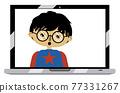 Asian boy on laptop screen 77331267