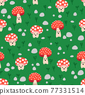 Seamless vector repeat kids pattern cute toadstools. Cute background mushroom fungi with smiling 77331514
