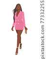 Women on high heels dressed in stylish trendy clothes - Beautiful dark-skinned girl model in pink blazer dress - female fashion illustration 77332255