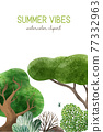 Watercolor forest elements, hand drawn vector illustration. 77332963
