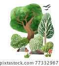 Watercolor forest elements, hand drawn vector illustration. 77332967